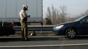 A speeding ticket being issued